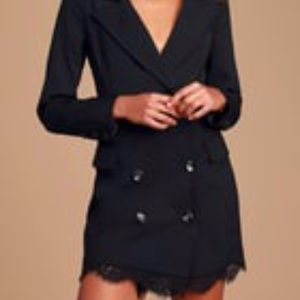 LuLus Styled Life Black Lace Blazer Dress
